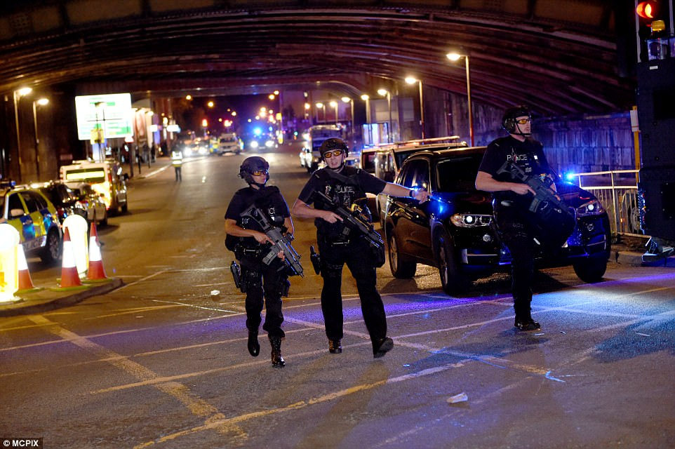 Police were on the scene following the suspected terror attack at the Manchester concert