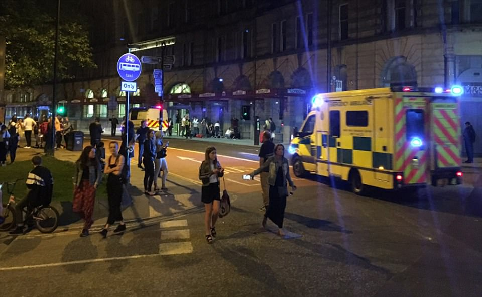 People attending the concert by Ariana Grande fled in panic on hearing the noises - some in tears