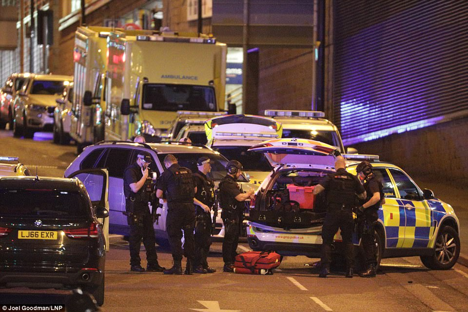 Armed police descended on the venue after the terror attack at Manchester Arena tonight