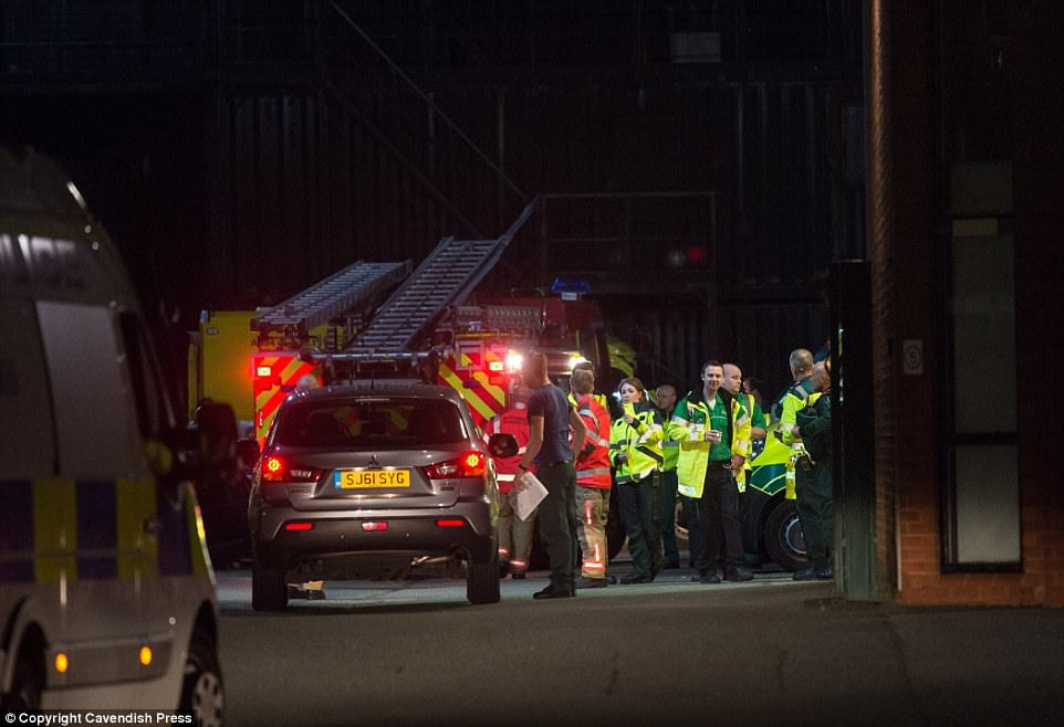 Scooter Braun, Ariana Grande's manager, said: 'Tonight, our hearts are broken. Words cannot express our sorrow for the victims and families harmed.' Pictured: A makeshift emergency services base outside Manchester Central Fire Station