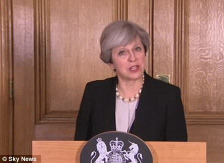 Theresa May (pictured) has said the terror threat level has been raised to 'critical' for the first time since 2007