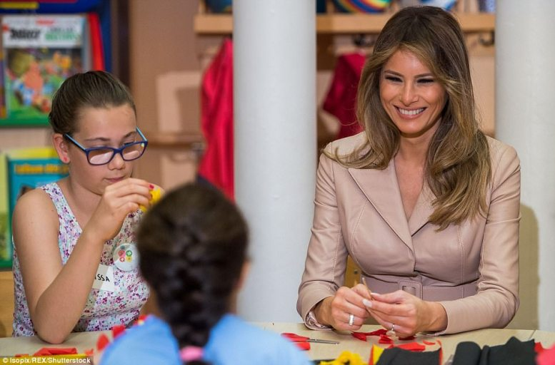 Image result for At Children's Hospital, Melania Leans Down and Receives an INCREDIBLE Gift From One Little Girl