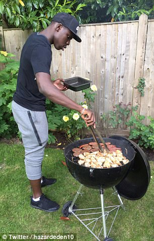 Eden Hazard posted this picture of Kurt Zouma overseeing a barbecue on Thursday night