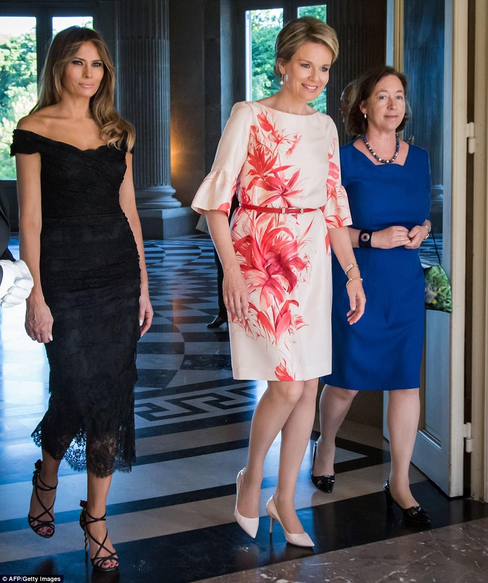 Melania, Queen Mathilde, and Ingrid Schulerud are pictured arriving before posing for photos together