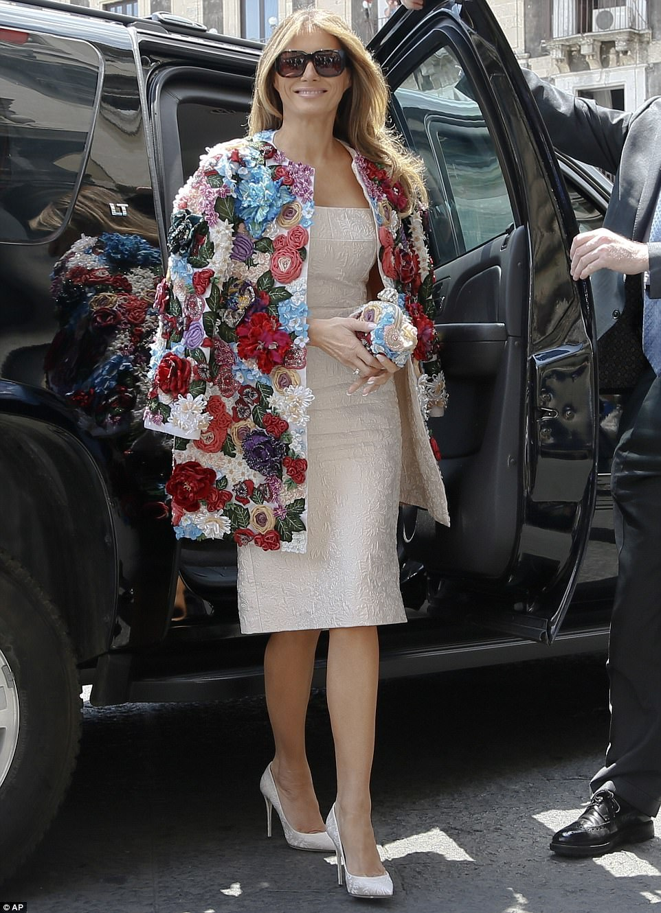 Melania made a very chic arrival in the coastal town of Catania, Sicily, on Friday morning, also wearing Dolce & Gabanna