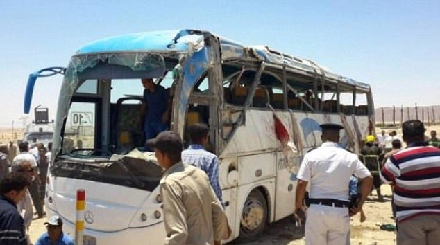 Up to 10 masked attackers dressed in military uniforms stopped a bus in Minya province, 140 miles south of Cairo, as the group was heading towards Saint Samuel the Confessor Monastery in Maghagha to pray. Pictures have emerged purporting to show the aftermath of the shooting