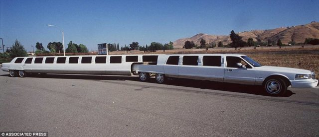 This limousine, built by Ultra Kustom Coach, cost a cool $1.8million, with it engineered to seat 38 people and bend in the middle for cornering