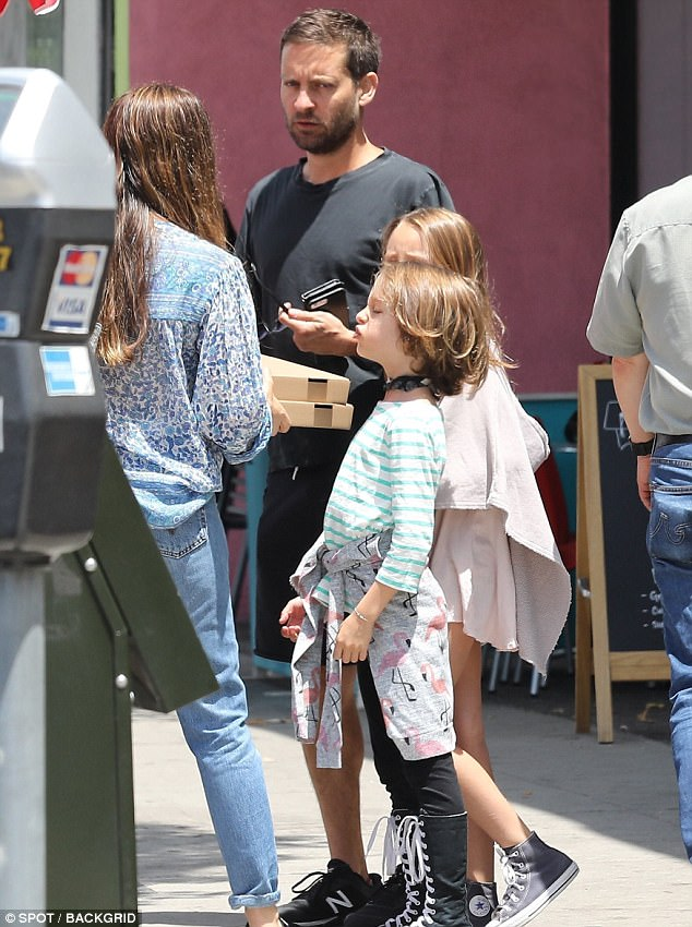 Tobey Maguire and Jennifer Meyer reunite with children