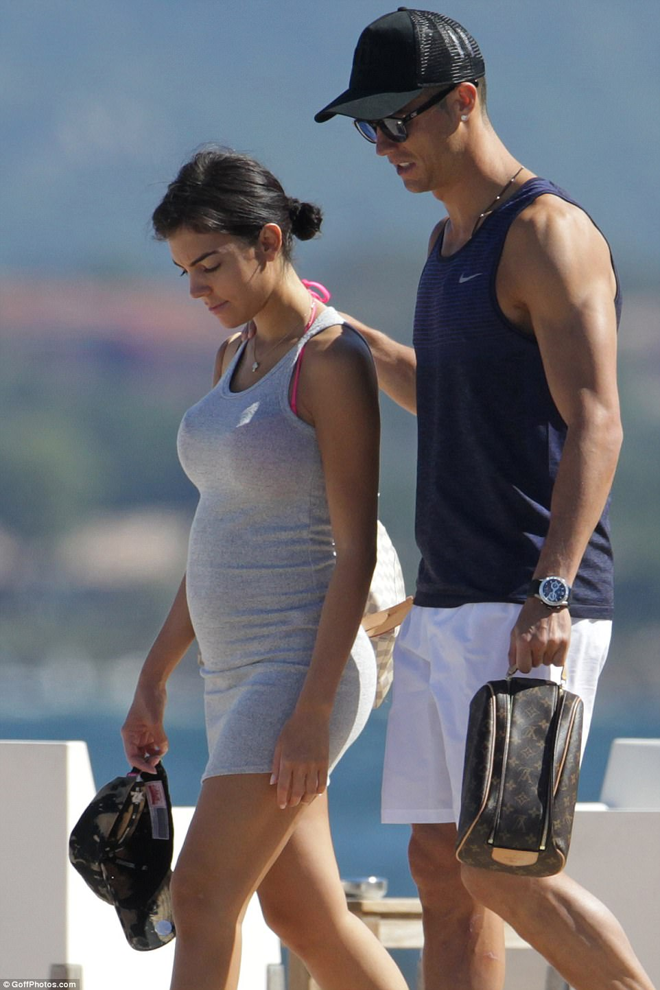 Holiday fun: Cristiano Ronaldo and his girlfriend Georgina Rodriguez looked besotted with one another as they enjoyed a sunny day together in Corsica this week