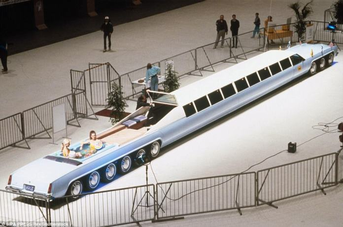 A 1982 sky-blue El Dorado Cadillac underwent some major stretching. A team of engineers went about converting the car into an 18-wheel pleasure palace complete with two colour televisions, three telephones, a videotape recorder, sun deck and spa