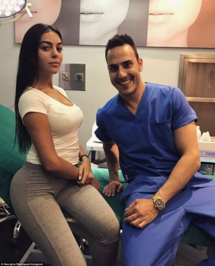 Doctor visit: Georgina posted a picture of herself to Instagram at the doctors just days after rumours spread that she was pregnant, but it appears Georgina was visiting Dr Rafik Dehni who specialises in plastic surgery and skin treatments