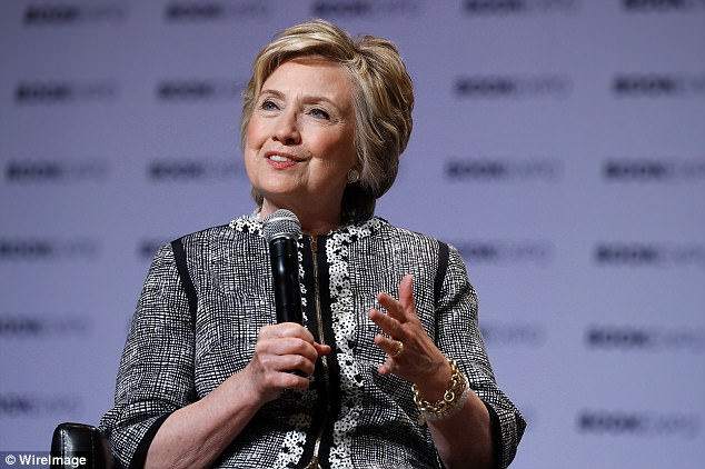 Clinton on Wednesday launched an all-out assault on Trump, claiming he must have 'guided' Russian efforts to keep her out of the White House. She is seen above speaking at the BookExpo 2017 at the Javits Center in New York City on Thursday