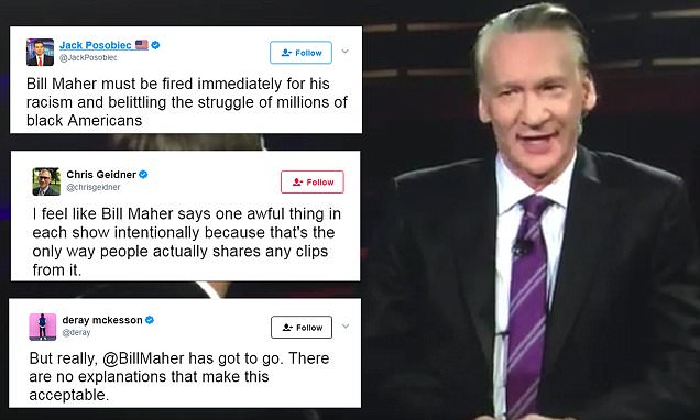 Fury as 'Real Time' host Bill Maher uses the N-word