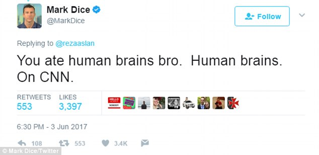 Blogger @MarkDice pointed out Aslan's eating history out by simply stating: 'You ate human brains bro. Human brains. On CNN'