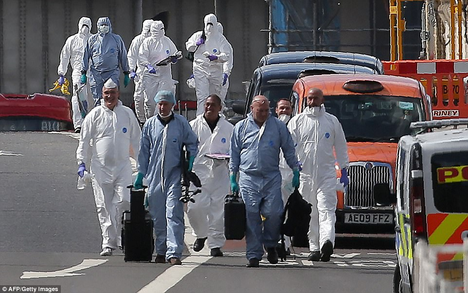 Forensic officers arrived at the scene of the attack in London Bridge as they scoured for clues to help identify the three attackers