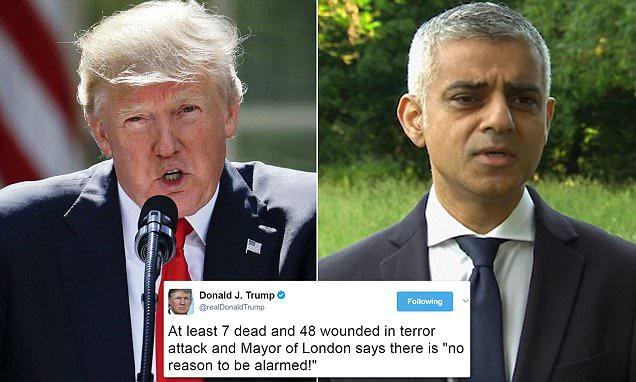 Trump condemns London Mayor Sadiq Khan after terror attack