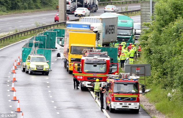 A man was crushed to death after his car was sandwiched between to lorries during a horror crash on the M3 (pictured)