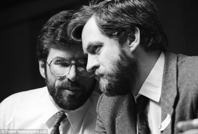 MP Jeremy Corbyn with Gerry Adams at the Bobby Sands and James Connolly commemoration at Conway Hall, London