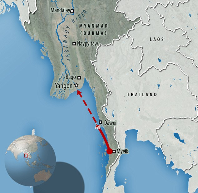 The wreckage of a Burmese military plane which disappeared while flying from Myeik to Yangon has been found in the ocean 100 miles from the city of Dawei