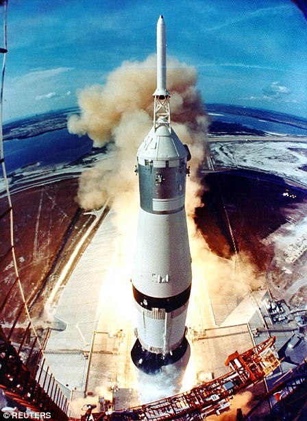 "On July 16, 1969, American astronauts Neil Armstrong, Edwin ""Buzz"" Aldrin, and Michael Collins lifted off from Kennedy Space Center, Florida, in the mammoth-sized Saturn V rocket on their way to the moon during the Apollo 11 mission."