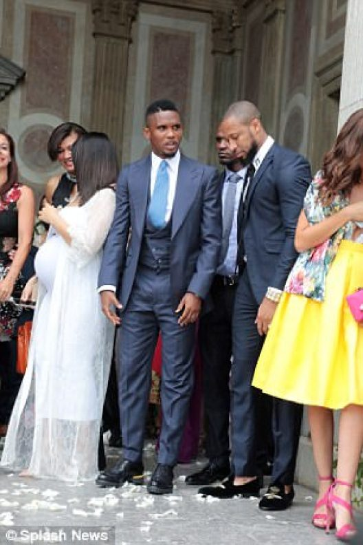 Former Barcelona players Samuel Eto'o, Eric Abidal and Keita all attended the wedding