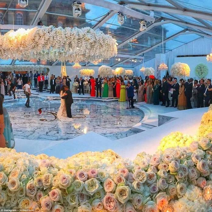 The stunning bride, who has worked as a model, changed outfits for the reception and the pair were seen enjoying their first dance as man and wife in the lavish surroundings
