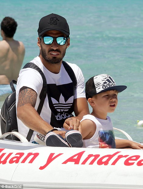 ... while Luis enjoyed some quality time with son Benjamin