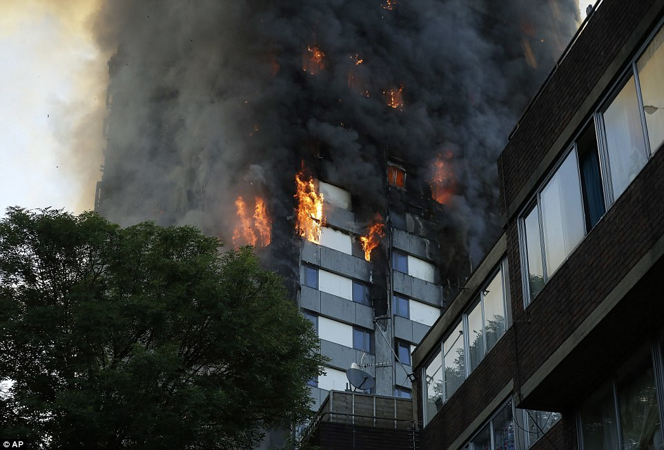 The fire is said to have spread from the second floor to the roof of the enormous 120-flat block in just 15 minutes, with 200 firefighters struggling to bring it under control