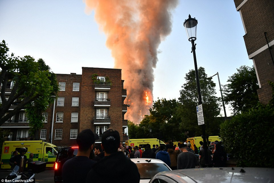 Londoners watch on as the building goes up in flames, with emergency services packing the streets around the scene