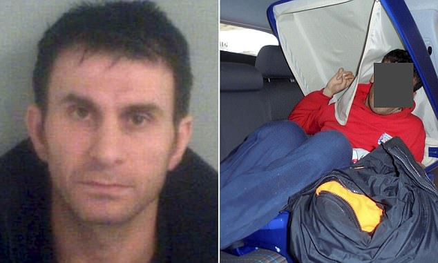 Dashti Omar Abdulrahman, foto de la izquierda, fue condenado a años de cárcel por intentar introducir un iraquí en el Reino Unido por lo relleno en una maleta (en la foto derecha)