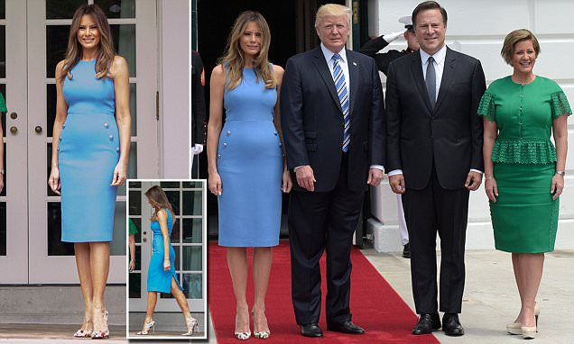 Melania Trump wears blue dress to meet Panama's president