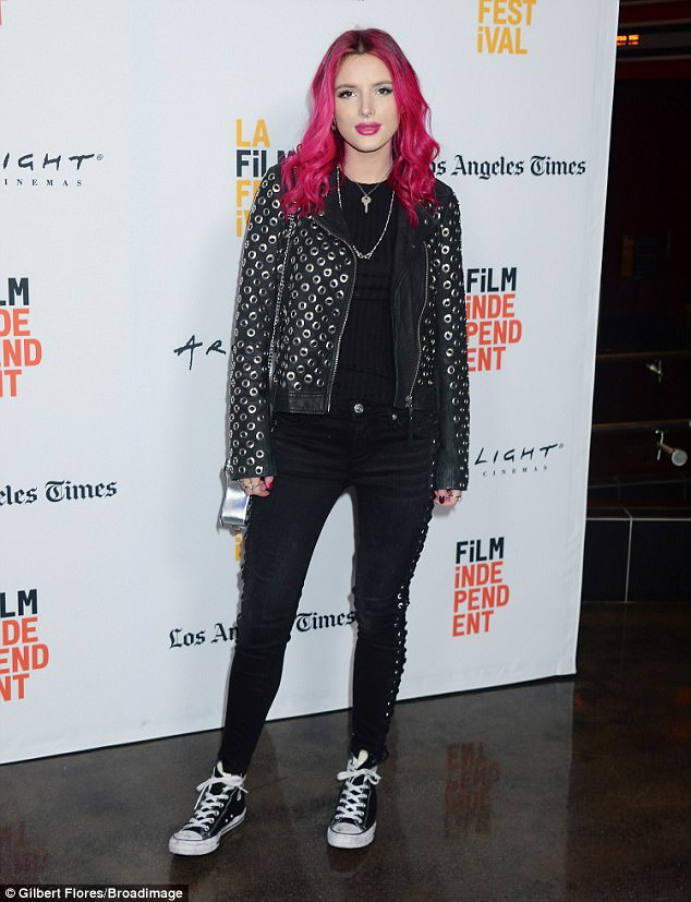 Biker chic:Bella Thorne got back to the business of Hollywood as she walked the red carpet of the LA Film Festival on Monday