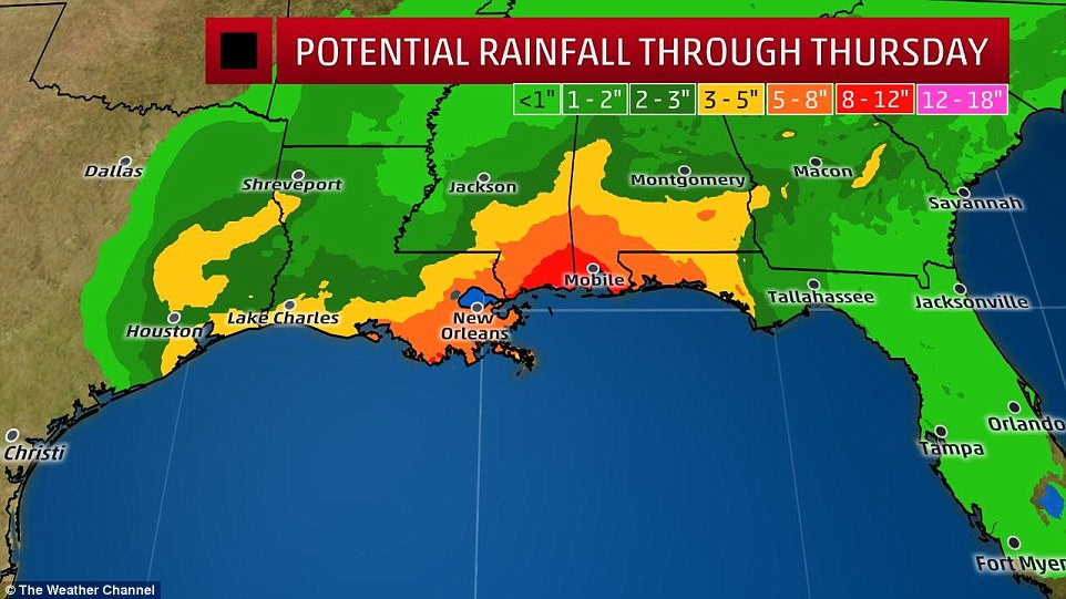 Heavy rain is predicted to fall through Thursday along the Gulf Coast states. Between five to eight inches could fall in New Orleans as Mobile, Alabama could get between eight to 12 inches of rain