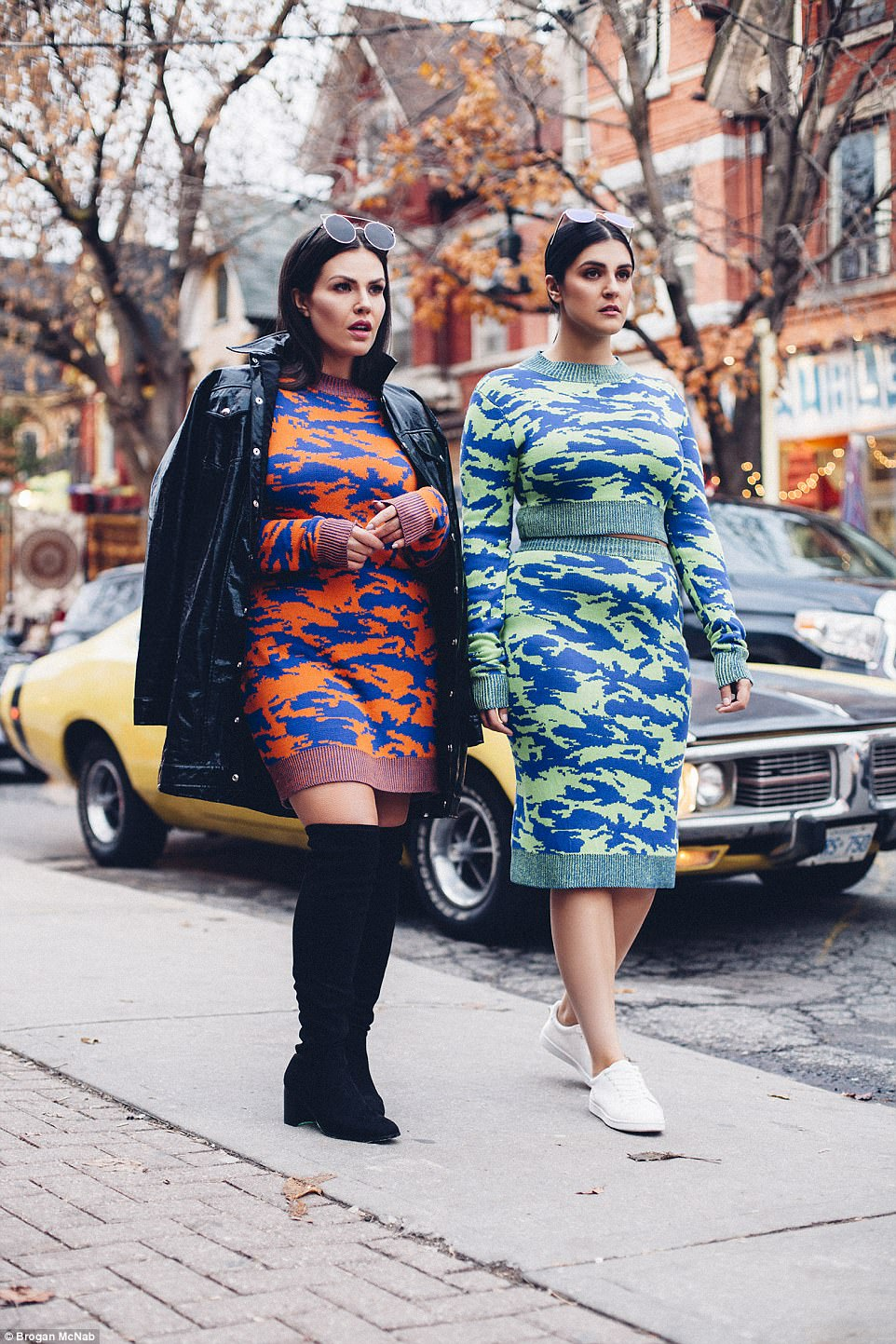 Plus-size and proud: In the shoot, the pair can be seen flaunting their curves in a series of bold, eye-catching cuts and colours that show off their voluptuous figures to perfection