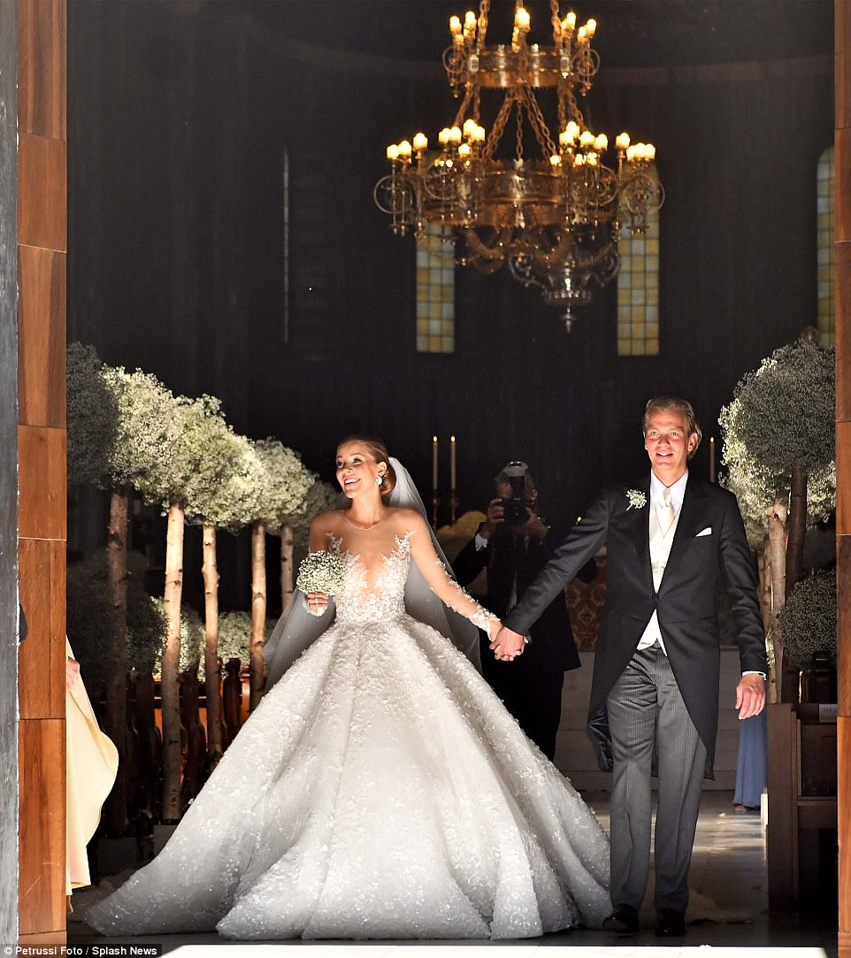The crystal heiress stunned in a 46kg custom-made gown, which reportedly cost over £700,000, and came embellished with 500,000 Swarovski crystals