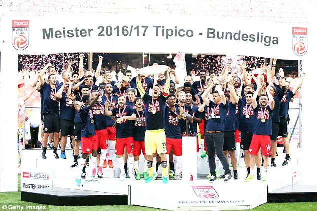 RB Salzburg's players celebrate after winning the Austrian Bundesliga last season