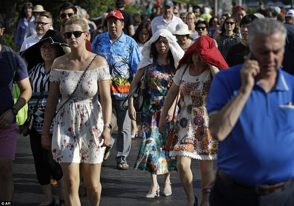 People shield themselves from the sun while walking along the famed thoroughfare as the temperature reached record highs