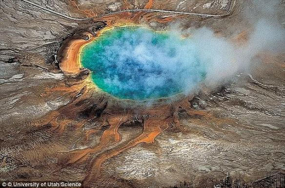 A swarm of hundreds of earthquakes have hit Yellowstone National Park with up to 4.4 magnitude. The Grand Prismatic hot spring (pictured) is among the park's many hydrothermal features created by the supervolcano (stock image)