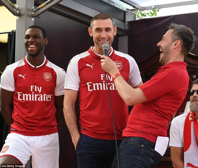 Former Arsenal Player Martin Keown C On Stage To Help Introduce The New Kit