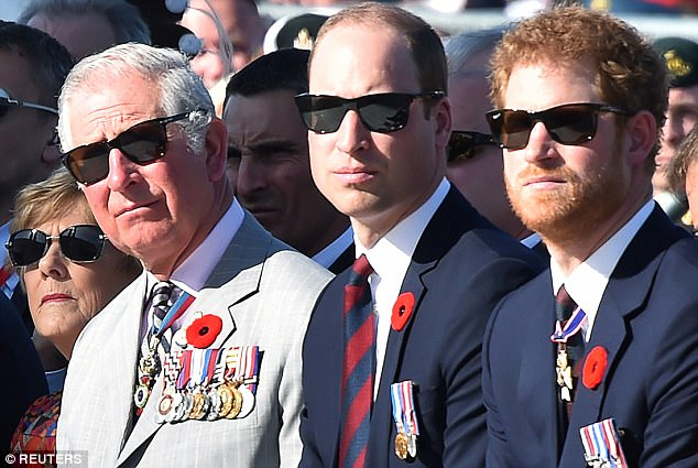 During the extraordinary interview, Prince Harry (right) said no-one wanted to be king or queen, including his father (left) and brother (centre)