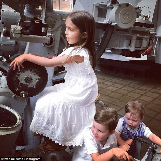 Fun for the kids: Ivanka took to social media to share snapshots of her children, Arabella, Joseph, and Theodore (left to right) at the Navy Museum on Wednesday