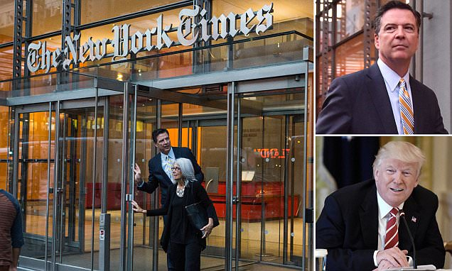 Ousted FBI director James Comey visits The New York Times