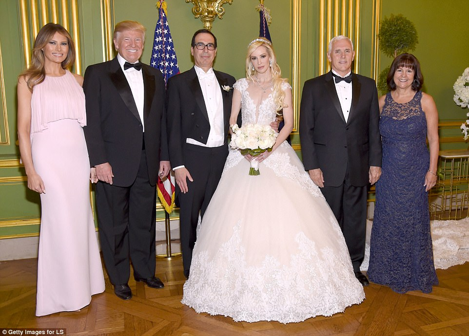 US Treasury Secretary Steven Mnuchin and his bride Louise Linton posed with President Trump, First Lady Melania, Vice President Mike Pence and his wife Karen following the ceremony in Washington DC on Saturday