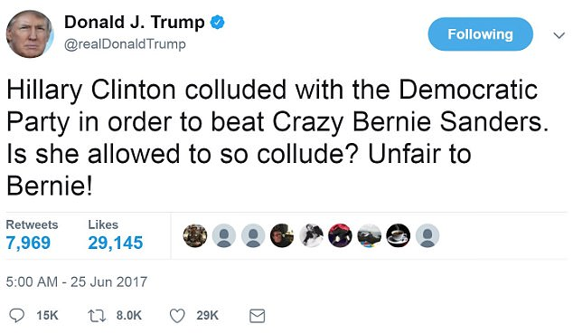 On Sunday morning, President Trump tweeted that it's Hillary Clinton who 'colluded,' but with the Democratic National Committee to rout 'Crazy' Sen. Bernie Sanders, her primary rival