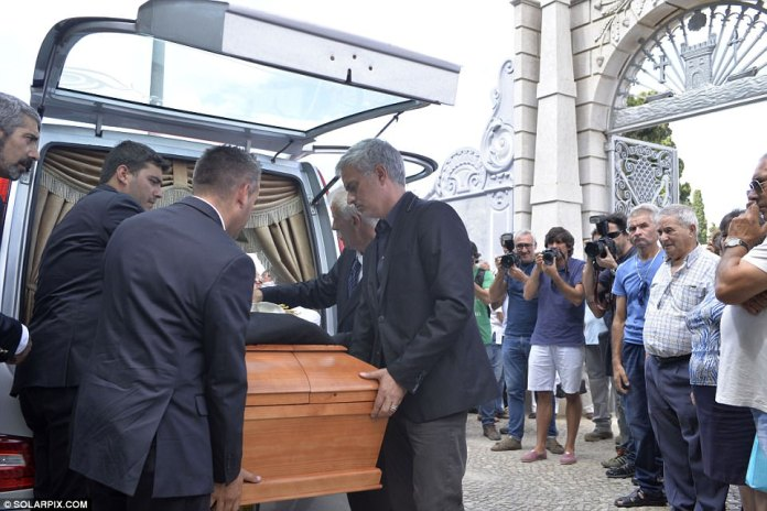 Mourinho and other guests carry Felix's coffin into the church ahead of Tuesday morning's service