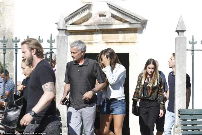 Mourinho and his family attended a church service on Monday ahead of Felix's funeral and burial on Tuesday