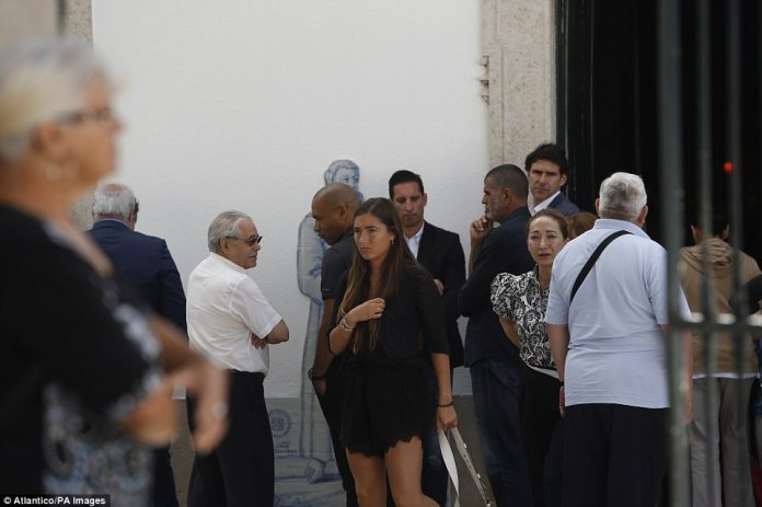 United goalkeeping coach Emilio Alvarez Blanco (centre, back) and Aitor Karanka (right, back) also attended the funeral