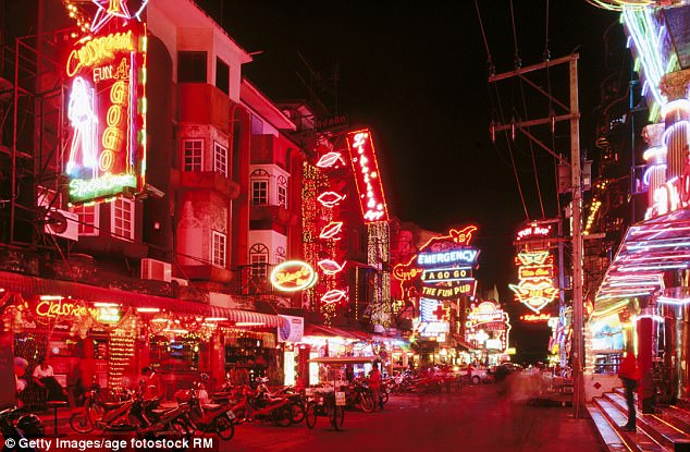 Despite his attempt to thwart authorities on social media, it is believed Davidson is seeking refuge with other fugitives in Pattaya, south of Bangkok (pictured)