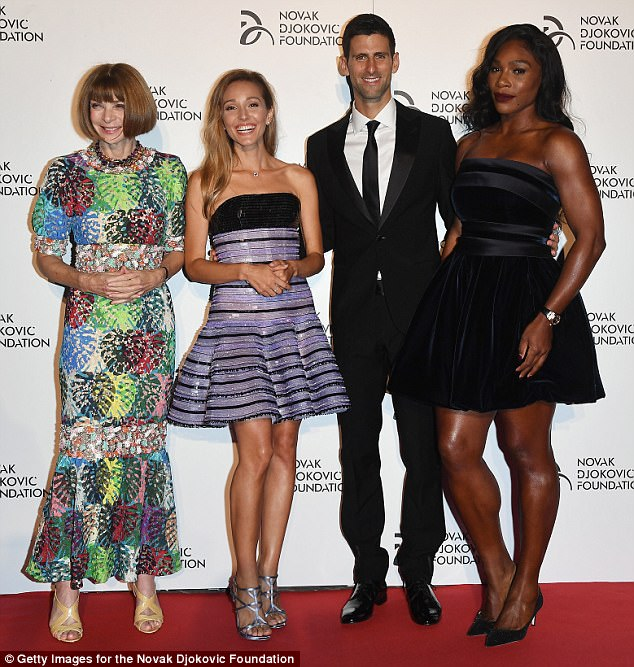 Jelena Djokovix with her husband Novak and Anna Wintour (left) and Serena Williams (right) at a gala dinner for their charity foundation presented by Giorgio Armani at Castello Sforzesco in Milan