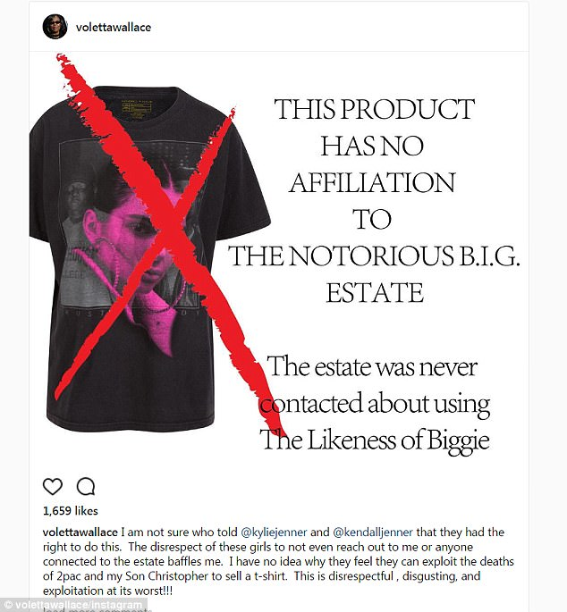 Not happy: Biggie's mom Voletta Wallace  shared an angry Instagram with a cross over the Jenner shirt that featured the rap giant in the background